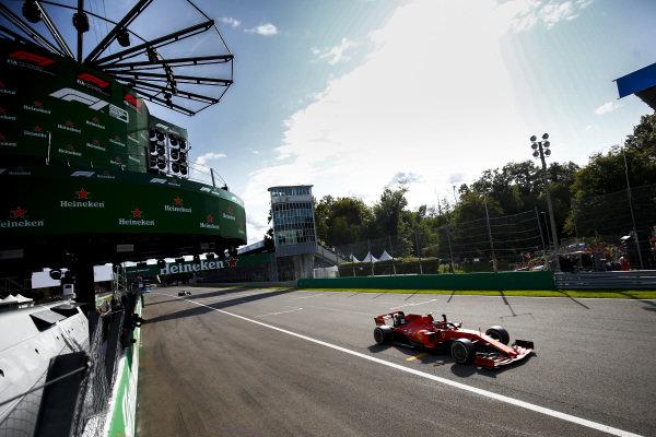 Race winner Charles Leclerc, Ferrari SF90 celebrates crossing the finish line