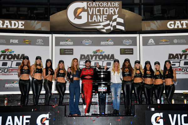 Monster Energy NASCAR Cup Series Daytona 500 Daytona International Speedway, Daytona Beach, FL USA Sunday 18 February 2018 Austin Dillon, Richard Childress Racing, Dow Chevrolet Camaro celebrates with the Monster Girls World Copyright: Rusty Jarrett LAT Images