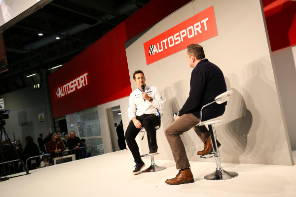 Autosport International Exhibition. National Exhibition Centre, Birmingham, UK. Saturday 13th January 2018. Richard Millener from M-Sport talks to Henry Hope-Frost on the Autosport Stage. World Copyright: James Roberts/JEP/LAT Images Ref: JR2_5455