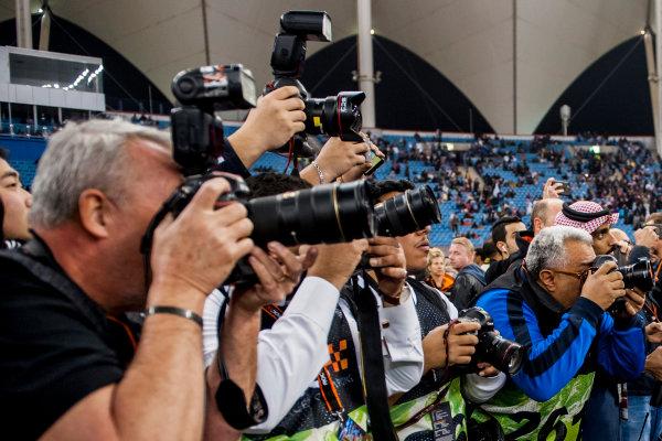 2018 Race Of Champions King Farhad Stadium, Riyadh, Abu Dhabi. Saturday 3 February 2018 The media take photos of the podium ceremony. Copyright Free FOR EDITORIAL USE ONLY. Mandatory Credit: 'Race of Champions'