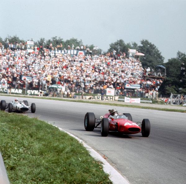 Monza, Italy. 2-4 September 1966.Giancarlo Baghetti (Ferrari 148/246) leads Chris Amon (Brabham BT11 BRM).Ref-3/2374.World Copyright - LAT Photographic