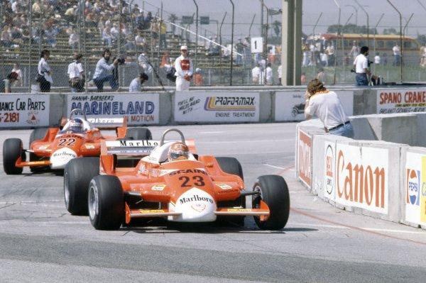 1980 United States Grand Prix West.Long Beach, California, USA. 28-30 March 1980.Bruno Giacomelli leads Patrick Depailler (both Alfa Romeo 179B).World Copyright: LAT PhotographicRef: 35mm transparency 80LB22