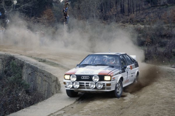 1982 World Rally Championship.Portuguese Rally, Portugal. 3-6 March 1982.Michele Mouton/Fabrizia Pons (Audi Quattro), 1st position.World Copyright: LAT PhotographicRef: 35mm transparency 82RALLY03