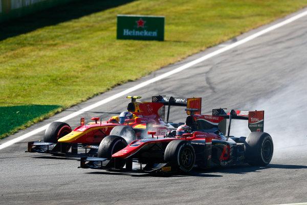 Autodromo Nazionale di Monza, Italy. Sunday 3 September 2017 Gustav Malja (SWE, Racing Engineering). and Nobuharu Matsushita (JPN, ART Grand Prix).  Photo: Bloxham/FIA Formula 2 ref: Digital Image _W6I4768