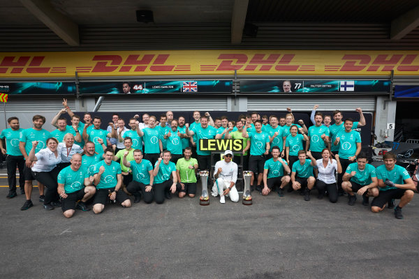 Spa Francorchamps, Belgium.  Sunday 27 August 2017. Lewis Hamilton, Mercedes AMG, 1st Position, celebrates with his team. World Copyright: Steve Etherington/LAT Images  ref: Digital Image SNE10890