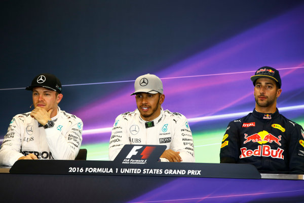 Circuit of the Americas, Austin Texas, USA. Saturday 22 October 2016. Nico Rosberg, Mercedes AMG, Lewis Hamilton, Mercedes AMG and Daniel Ricciardo, Red Bull Racing in the Press Conference. World Copyright: Andy Hone/LAT Photographic ref: Digital Image _ONY8338