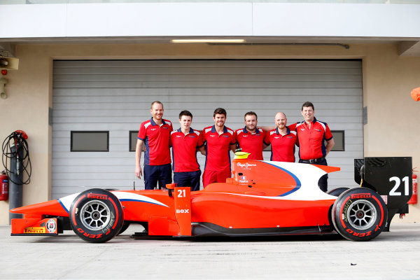 2015 GP2 Test 1 Yas Marina Circuit, Abu Dhabi, United Arab Emirates Wednesday 10 March 2015 Norman Nato (FRA, Arden Int) and his Arden mechanics  Photo: Jed Leicester/GP2 Series Media Service ref: Digital Image _JL14634