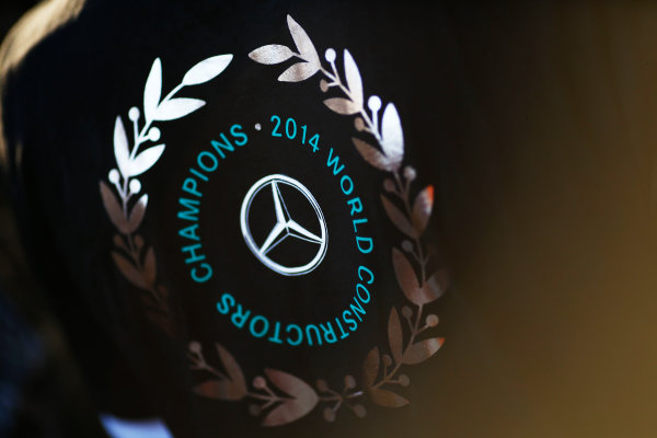 Sochi Autodrom, Sochi, Russia. Sunday 12 October 2014. Mercedes celebrate winning the 2014 Constructors title. World Copyright: Andy Hone/LAT Photographic. ref: Digital Image _ONZ7995
