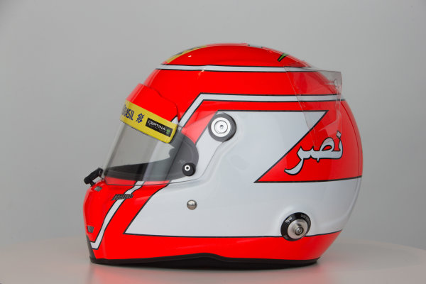Sauber C34 Reveal. Hinwil, Switzerland. Thursday 29 January 2015. Helmet of Felipe Nasr. Photo: Sauber F1 Team (Copyright Free FOR EDITORIAL USE ONLY) ref: Digital Image Sauber_2015_Helmet_21