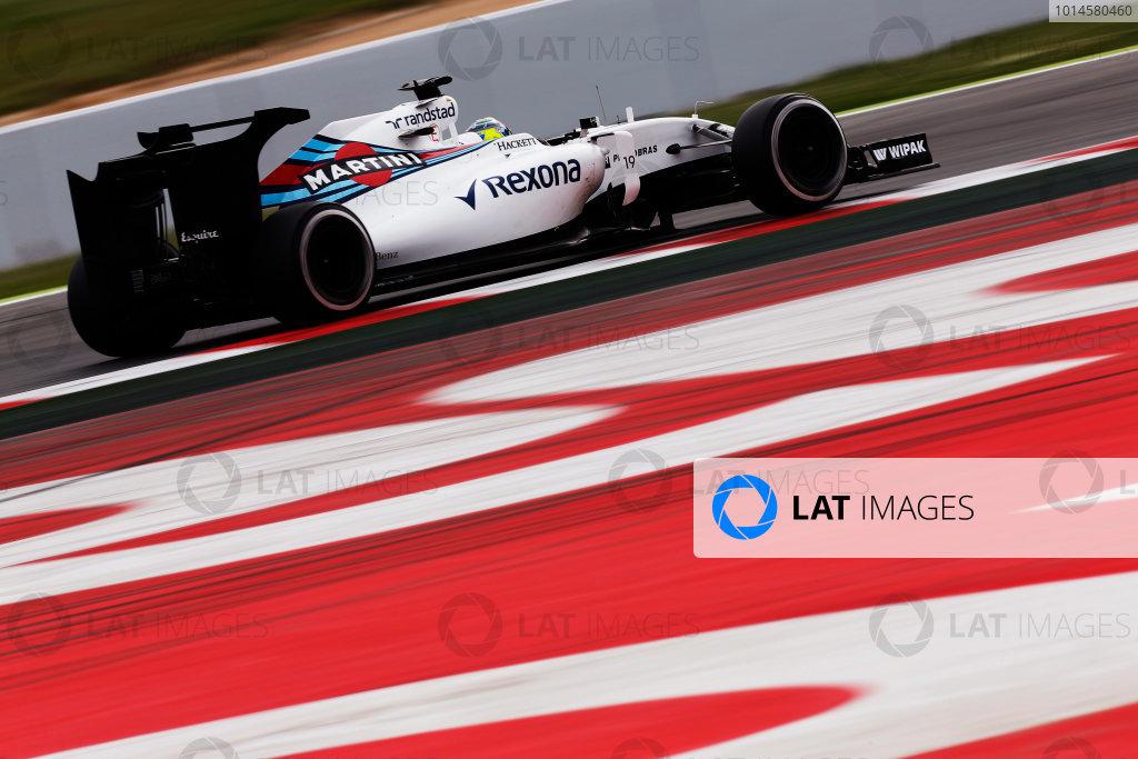 Circuit de Catalunya, Barcelona, Spain.  Wednesday 18 May 2016.  Felipe Massa, Williams FW38 Mercedes, tests a development rear wing and aero parts.  World Copyright: Sam Bloxham/LAT Photographic ref: Digital Image _R6T1973
