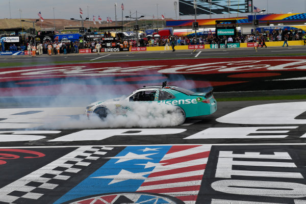 26-28 May, 2016, Concord, North Carolina USA Denny Hamlin, Hisense USA Toyota Camry celebrates his victory with a burnout.  ?2016, Logan Whitton  LAT Photo USA