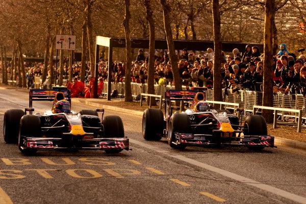 Milton Keynes.  Saturday 10th December 2011.Sebastian Vettel, Red Bull Racing RB7 Renault and Mark Webber, Red Bull Racing RB7 Renault. Photo: Alastair Staley/LAT Photographic.Ref: Digital Image _O9T5365 jpg