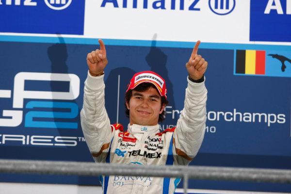 Spa - Francorchamps, Spa, Belgium. 29th August.Sunday Race.Sergio Perez (MEX, Barwa Addax Team) celebrates his victory on the podium. Portrait.Photo: Charles Coates/GP2 Media Service.Ref: __26Y5747 jpg
