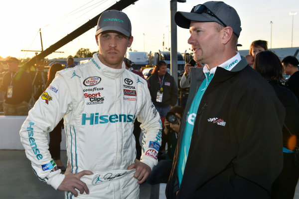 24 April, 2015, Richmond, Virginia USA Denny Hamlin, Hisense Toyota Camry and Michael Wheeler ? 2015, Nigel Kinrade LAT Photo USA
