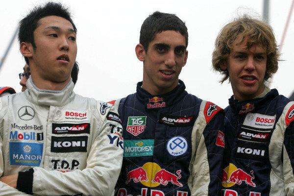 Kazuki Nakajima (JPN) Manor Motorsport, Sebastien Buemi (SUI) Carlin and Sebastian Vettel (GER) Carlin  Macau GP Race 2, Guia Circuit, Macau, China, 19th November 2006 DIGITAL IMAGE