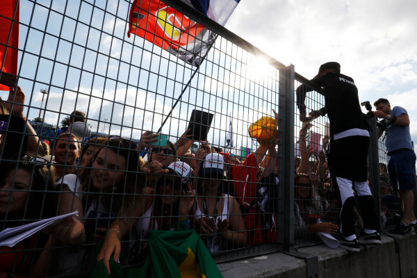 Hungaroring, Budapest, Hungary.  Thursday 27 July 2017. Lewis Hamilton, Mercedes AMG, signs autographs for fans. World Copyright: Steven Tee/LAT Images  ref: Digital Image _O3I4998