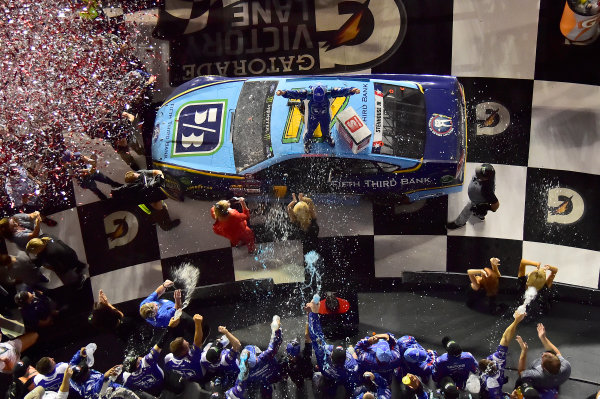 Monster Energy NASCAR Cup Series Coke Zero 400 Daytona International Speedway, Daytona Beach, FL USA Saturday 1 July 2017 Ricky Stenhouse Jr, Roush Fenway Racing, Fifth Third Bank Ford Fusion, celebrates in victory lane. World Copyright: John K Harrelson LAT Images