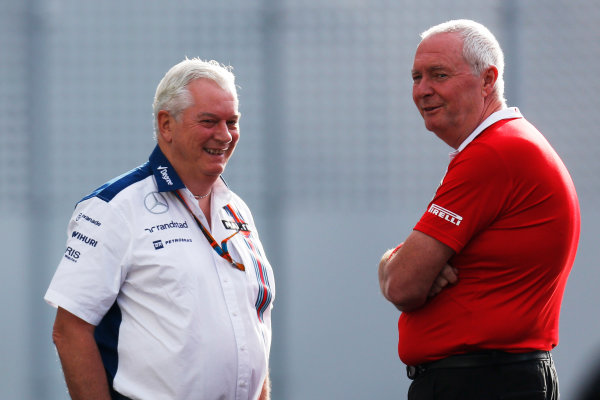 Autodromo Hermanos Rodriguez, Mexico City, Mexico. Friday 30 October 2015. Pat Symonds, Chief Technical Officer, Williams F1, with John Booth, Team Principal, Manor Marussia F1. World Copyright: Alastair Staley/LAT Photographic ref: Digital Image _79P5436