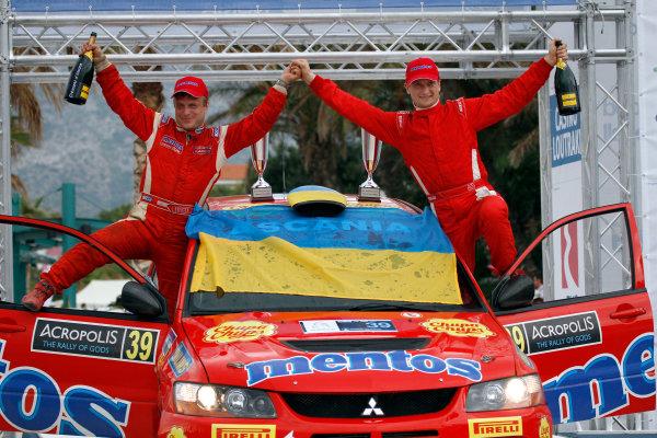 Round 06 - Rally Acropolis Greece. 24-27 May 2012. Valeriy Gorban, Mitsubishi PWRC, Podium. Worldwide Copyright: McKlein/LAT