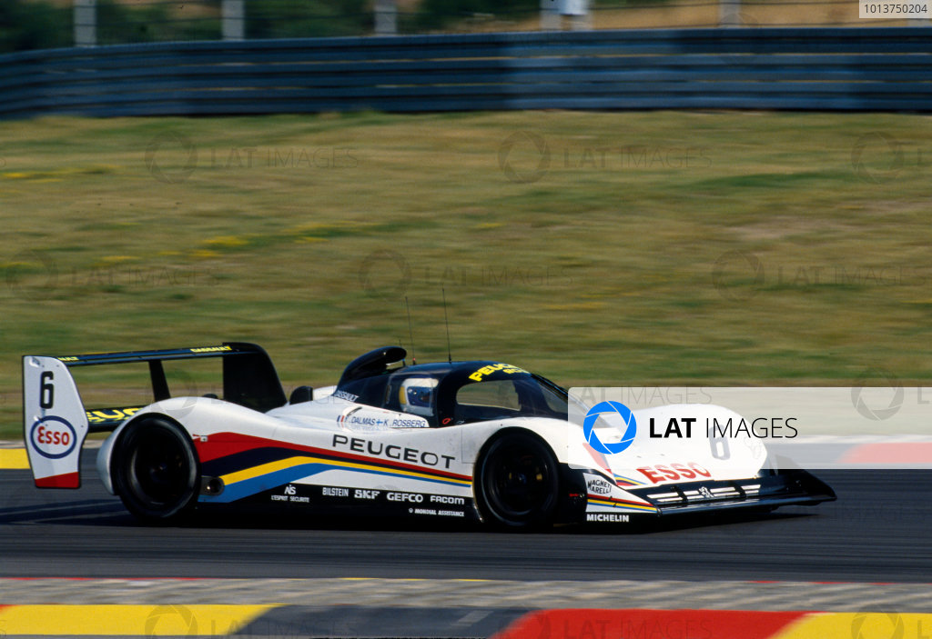 Nurburgring 430 Kms. Nurburgring, Germany. 18th August 1991. Rd 5. Keke Rosberg/Yannick Dalmas (Peugeot 905 Evo 1), retired, action. World Copyright: LAT Photographic. Ref:  91 SWC NUR 04