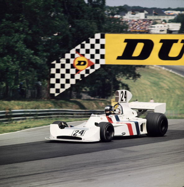 Brands Hatch, Great Britain. 20th July 1974. Rd 10.  James Hunt, Hesketh 308-Ford, retired, action .  World Copyright:  Ref: 74GB