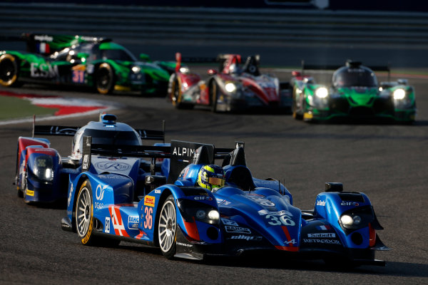 2015 FIA World Endurance Championship Bahrain 6-Hours Bahrain International Circuit, Bahrain Saturday 21 November 2015. Nelson Panciatici, Paul Loup Chatin, Tom Dillmann (#36 LMP2 Signatech Alpine Alpine A450B Nissan) leads Mikhail Aleshin, Nicolas Minassian, David Markozov (#44 LMP2 AF Racing BR01 Nissan). World Copyright: Alastair Staley/LAT Photographic ref: Digital Image _79P0192