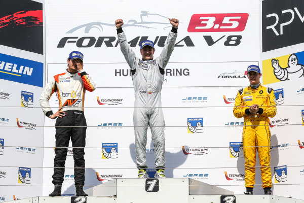 BUDAPEST (HUN) APR 22-24 2016 - Second round of the Formula V8 3.5 at the Hungaroring. Johnny Cecotto #21 RP Motorsport. Podium. © 2016 Diederik van der Laan  / Dutch Photo Agency / LAT Photographic