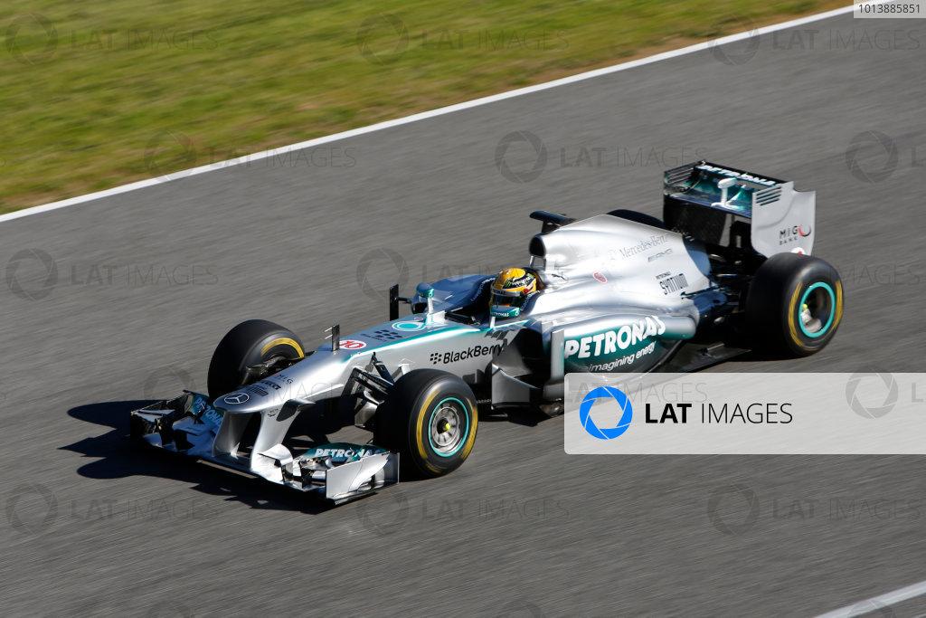 Circuito de Jerez, Jerez de la Frontera, Spain, 4th February 2013 Lewis Hamilton, Mercedes W04, takes the 2013 car for a spin. World Copyright: Alastair Staley/LAT Photographic ref: _R6T7516