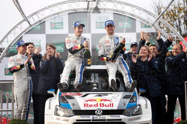 2013 FIA World Rally Championship Round 13-Wales Rally GB 14-17 November 2013 Sebastien Ogier, Julien Ingrassia, VW WRC, Podium.  Worldwide Copyright: McKlein/LAT