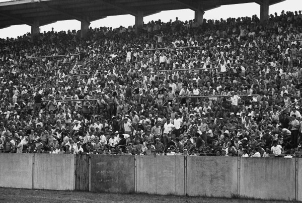 1970 German Grand Prix. Hockenheim, Germany. 31st July - 2nd August 1970. One of the grandstands at the circuit with a very hot crowd, atmosphere. World Copyright: LAT Photographic. Ref: 3232 - 39.