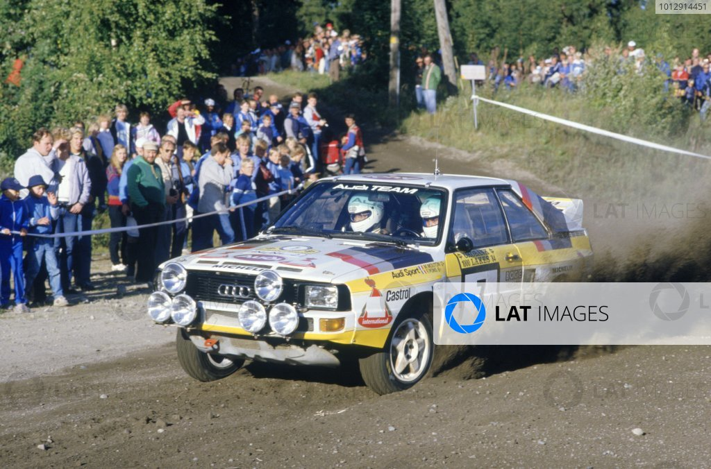 1984 World Rally Championship.1000 Lakes Rally, Finland. 26-28 August 1984.Michelle Mouton/Fabrizia Pons (Audi Sport Quattro), retired.World Copyright: LAT PhotographicRef: 35mm transparency 84RALLY22