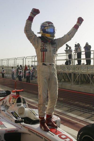 2005 GP2 Series - BahrainSakhir, Bahrain28th-30th September 2005Friday Race 2Nico Rosberg (D, ART Grand Prix) celebrates taking victory. Action. Copyright: GP2 Series Media Service ref: Digital Image Only