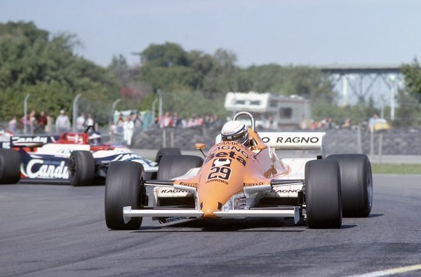 1981 Canadian Grand PrixMontreal, Canada. 25-27 September 1981.Riccardo Patrese (Arrows A3-Ford Cosworth) leads Brian Henton (Toleman TG181-Hart) in practice. Patrese retired, Henton did not qualify. Ref - 81CAN03.World Copyright - LAT Photographic