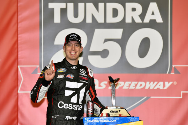 NASCAR Camping World Truck Series Toyota Tundra 250 Kansas Speedway, Kansas City, KS USA Friday 12 May 2017 Kyle Busch, Cessna Toyota Tundra celebrates his win in Victory Lane World Copyright: Nigel Kinrade LAT Images ref: Digital Image 17KAN1nk07184