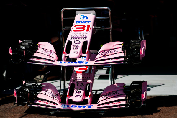 Monte Carlo, Monaco. Wednesday 24 May 2017. Force India VJM10 Mercedes noses and front wings in the pits. World Copyright: Sam Bloxham/LAT Images ref: Digital Image _W6I9828