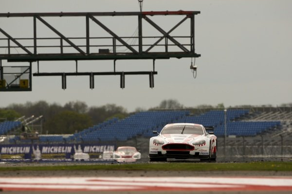 Original Tourist Trophy race winners Darren Turner (GBR) and Tomas Enge (CZE), Young Driver AMR Aston Martin DBR9, were penalised after their underfloor skid planks were worn beyond the permitted limits. FIA GT1 World Championship, Rd2, Silverstone, England, 2 May 2010.