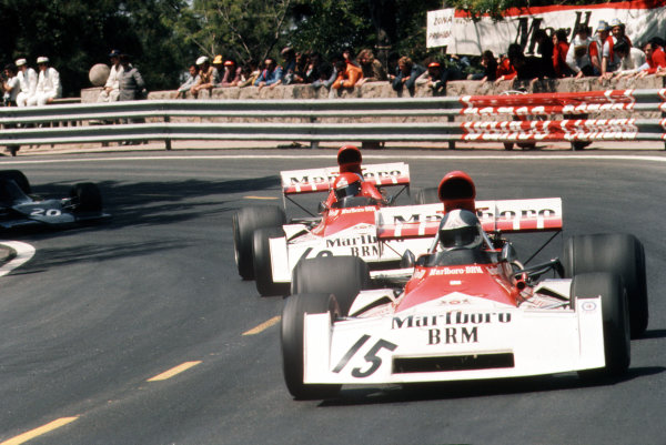 Montjuich Park, Barcelona, Spain.27-29 April 1973.Jean-Pierre Beltoise leads Niki Lauda (both BRM P160). Beltoise finished in 5th position.Ref-35mm 73 ESP 28.World Copyright - LAT Photographic