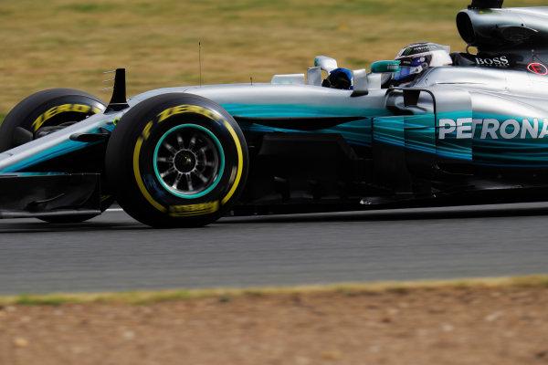 Silverstone, Northamptonshire, UK.  Friday 14 July 2017. Valtteri Bottas, Mercedes F1 W08 EQ Power+.  World Copyright: Zak Mauger/LAT Images  ref: Digital Image _56I8573
