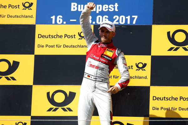 2017 DTM Round 3 Hungaroring, Budapest, Hungary. Sunday 18 June 2017. Podium: Race winner René Rast, Audi Sport Team Rosberg, Audi RS 5 DTM World Copyright: Alexander Trienitz/LAT Images ref: Digital Image 2017-DTM-R3-HUN-AT1-2715