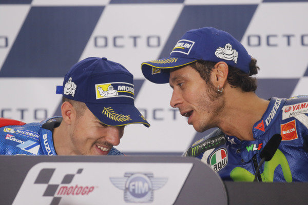 2016 MotoGP Championship.  British Grand Prix.  Silverstone, England. 2nd - 4th September 2016.  Maverick Vinales, Suzuki, and Valentino Rossi, Yamaha, during the press conference.  Ref: _W7_9609a. World copyright: Kevin Wood/LAT Photographic