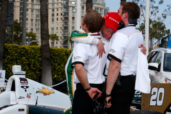11-13 April, 2014, Long Beach, California USA Mike Conway celebrates in victory lane with his crew ©2014, Lesley Ann Miller LAT Photo USA