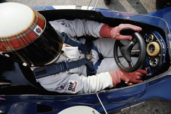 Jackie Stewart in the cockpit of his Tyrrell 005 Ford.