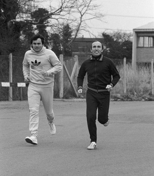 Alan Jones(AUS), left and Frank Williams(GBR) in training near the Williams Grand Prix Engineering Factory in Didcot Oxfordshire in 1978