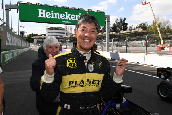 Race winner Katsuaki Kubota (JPN) celebrates in parc ferme at Masters Historics, Circuit Hermanos Rodriguez, Mexico City, Mexico, 29 October 2016.