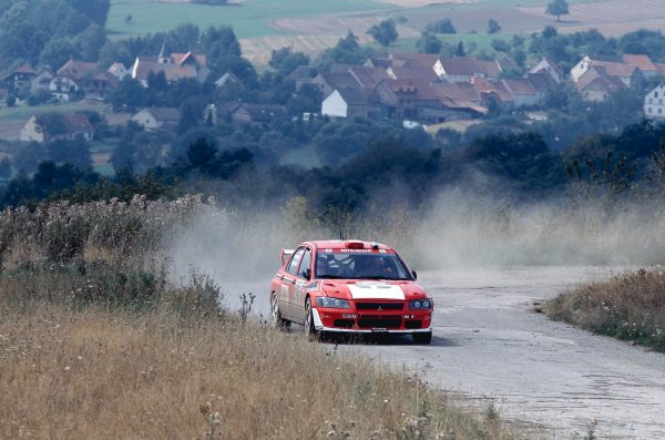 2002 World Rally Championship.ADAC Rallye Deutschland, Trier, Germany. August 22nd - 25th 2002.Francis Delecour/Daniel Grataloup (Mitsubishi lancer EVO WRC), action.Photo: McKlein/LAT Photographicref: 35mm Image A09