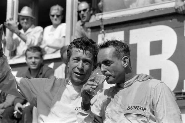 Olivier Gendebien and Phil Hill, 1st position, on the podium.