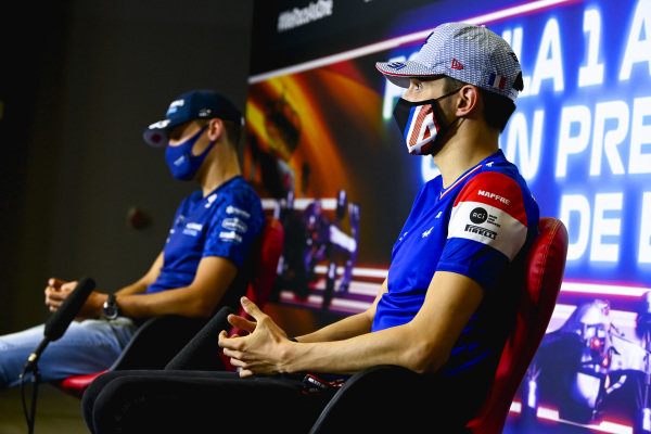 Esteban Ocon, Alpine F1 and George Russell, Williams in the Press Conference