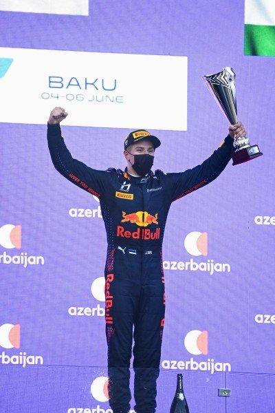 Juri Vips (EST, Hitech Grand Prix), 1st position, with his trophy