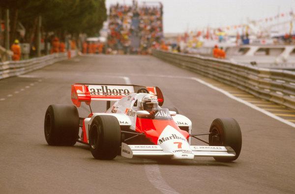 Monte Carlo, Monaco.31/5-3/6 1984.Alain Prost (McLaren MP4\2 TAG Porsche) 1st position, at Tabac.Ref-84 MON 34.World Copyright - LAT Photographic