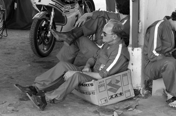 Frank Sheene sits in a box.